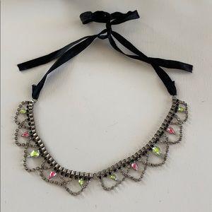 Bib rhinestones necklace with adjustable bow tie